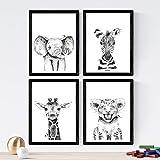 Nacnic Set de 4 láminas de Animales Infantiles Blanco Y Negro,en tamaño A4, Poster Papel 250 gr Marco