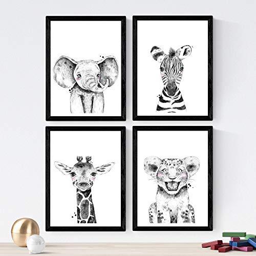 Nacnic Set de 4 láminas de Aniimales Infantiles Blanco Y Negro,en tamaño...