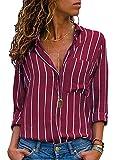 AitosuLa Bluse Gestreift Damen Hemd Oberteile V-Ausschnitt Lose Casual Chiffon Langarm T-Shirt Top Tunika Elegant Langarmshirt Streifen Wein Weiß S