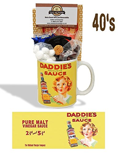 Daddies Sauce Mug with a selection 1940's old fashioned Sweets