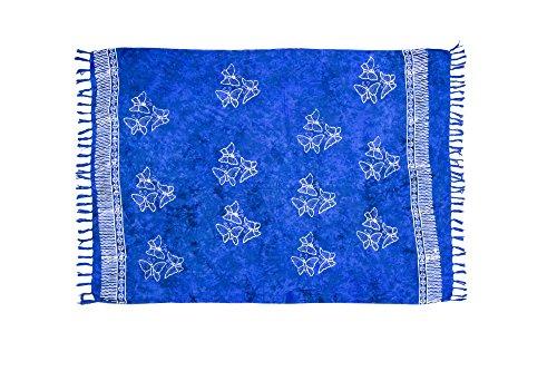 MANUMAR Damen Pareo blickdicht, Sarong Strandtuch in blau mit Schmetterling Motiv, XXL Übergröße 225x115cm, Handtuch Sommer Kleid im Hippie Look, für Sauna Hamam Lunghi Bikini Strandkleid