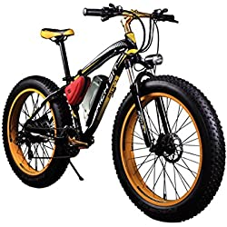 RICH BIT® RT-012 1000 W bicicleta eléctrica para bicicleta Cruiser bicicleta Ciclismo 48 V 17Ah batería de alta capacidad 7 speed horquilla de suspensión doble freno de disco mecánico 4.0 Fat tire nieve bicicleta marchas Shimano larga duración nueva moda pintura color amarillo tamaño large tamaño de rueda 26 pulgada