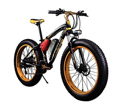 """Bicicletas eléctricas para hombre Cruiser grasa bicicleta TP012 1000W*48V*17Ah Fat tire 26 """"* 4.0inch 7marchas Shimano dearilleur de ciclismo amarillo"""