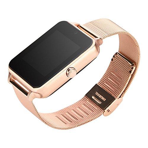 Bluetooth Smartwatch, Z60 Plus Smart Watch Telefon Schrittzähler Sitzende Erinnerung Schlaf Monitor Remote Kamera (Roségold)