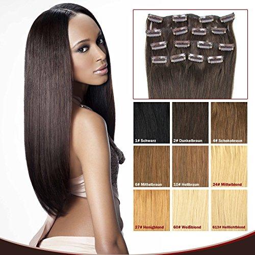 OUBO Clip in Extensions Echthaar 100% Remy Haarteile Echthaar für Haarverdichtung Haarverlängerung 7 Tressen 16 Clips Set hochwertiges Remy Echthaar 35/40/45/50/55cm -27# Honigblond, 50cm