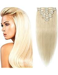 Extension a Clip Cheveux Naturel Lisse 8 Bandes Epaisseur Fine - 100% Remy Human Hair Grade 7A - #60 BLOND PLATINE 50cm-70g