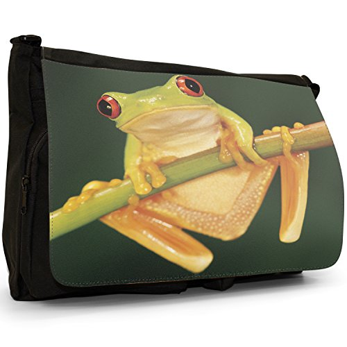 Fancy A Bag Borsa Messenger nero Green Frog On Leaf Red Eye Tree Frog