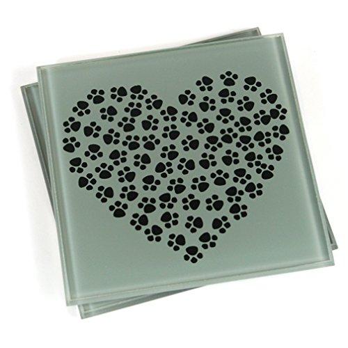 Black Ginger Paw Print Untersetzer-Heart (Set von 2) (Paw Print Black)