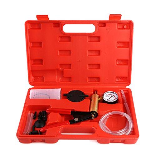 Femor Handvakuumpumpen-Prüfvorrichtung, Bremsen-Entlüftungs-Ausrüstung mit Vakuummeter, Adapter und Koffer, für Automobilfahrzeuge, LKW und Motorrad