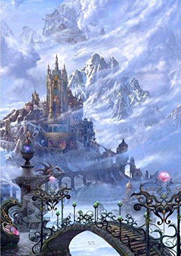 5D Diamond Painting Kit DIY Broche à rayures Cross Stitch Arts Artisanat pour décoration murale à la maison 11,8 * 15,7 pouces (30 * 40 cm) Alpine Snow and Ice Castle