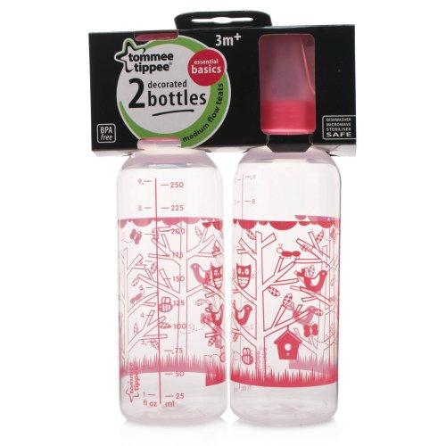 Tommee Tippee Explora Essentials Básicos Botellas Cuello estándar Botellas decoradas 2 por paquete, 3 meses +, 250 ml, Rosado
