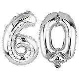 DekoRex® 60 als Folienballon Luftballon Zahlenballon Jahrestag Geburtstag in Silber 80cm hoch