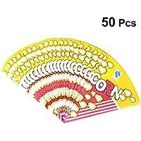 Amosfun 50pcs bolsas de palomitas de papel en forma de cono tratar golosinas bolsa de merienda para la fiesta de cumpleaños de boda de año nuevo