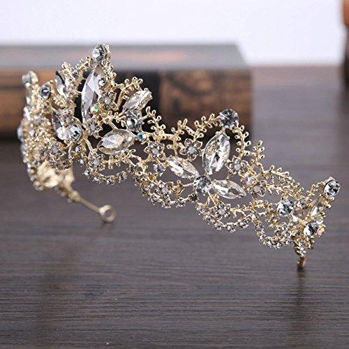 AMDXD Vergoldet Haarschmuck Mädchen Zirkonia Oval Blume Diademe Hochzeit Gold