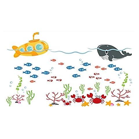 Winhappyhome Submarine Fishes Whale Stickers Muraux pour Salle De Bains Salle D'Eau FenêTre Porte En Verre Fond Amovible Decor Art Stickers
