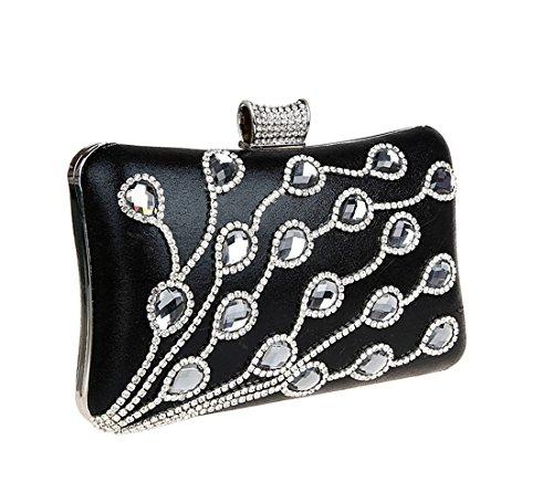 KAXIDY Luxus Abendtasche Handtasche Unterarmtasche mit elegant Funkelndem Strassbesatz Damentasche Tasche Handtasche (Schwarz) Schwarz