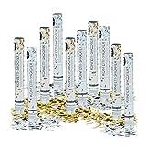 Relaxdays Set da 10 Cannoni sparacoriandoli 40 cm, gittata 6-8 m, Idea Regalo Decorazione Matrimoni Feste, Oro e Argento Metallici