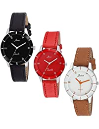 Jainx Triple Combo Multi Color Dial Analog Watch for Women & Girls - JXT809