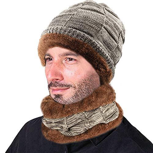 XIAOYAO Gorros de Invierno con Bufanda Sombrero Punto con Forro Polar Interno es Muy Suave