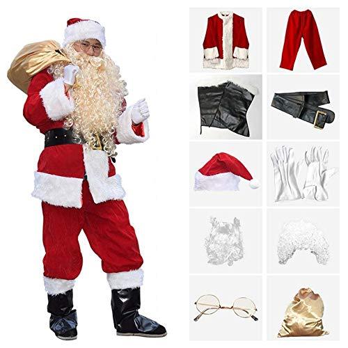 SPFAZJ Santa Anzug Kostüm Weihnachten Kostüm Santa Kostüm Erwachsene Männer hochwertige Beflockung Weihnachten Kleid Weihnachten Cosplay e MES (Plus Anzug Größe Santa)