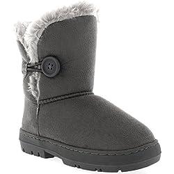 Niños Niñas Botón Invierno Forrada De Piel Nieve Lluvia Acogedor Botas - GRE37 - AEA0447