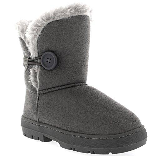 Kinder Mädchen Button Winter Pelz Gefüttert Schnee Regen Gemütlich Lässig Warm Stiefel, Gr.-35 EU, Grau