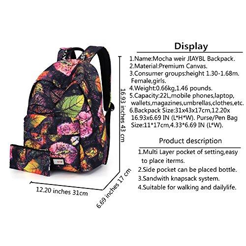 Mocha weir JIAYBL Laptop Taschen Schultern Kinder Schultaschen Rucksack Hochschule Mädchen Canvas Pack reisen (Graue Blätter) Schwarze Blätter