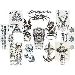 12pequeñas hojas negras Tatuajes Falsos para hombres dragón Illuminati ancla Tribal y más