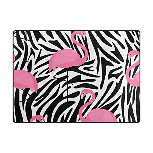 My Daily Flamingo Zebra Streifen Bereich Teppich 4'x 5' 7,6cm Wohnzimmer Schlafzimmer Küche Dekorativ Leichtem Schaumstoff Teppich, Bedruckt 4'10