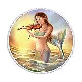 SUYUN Mehrzweck dekorative Tapisserie Badetuch Runde Strandtuch Mikrofaser Digitaldruck Meerjungfrau H 150 * 150cm