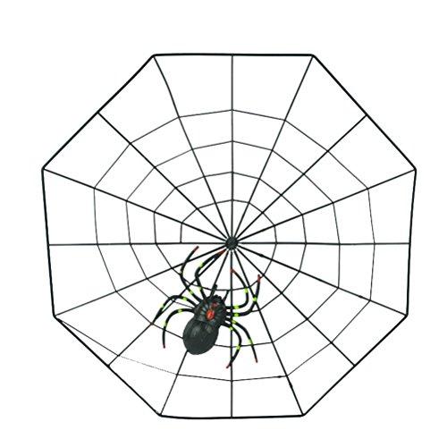 (Tinksky Fake Spider mit Spider Web Praktische Witze Stützen Plastik Spinne für Halloween Party Dekoration (Schwarz))