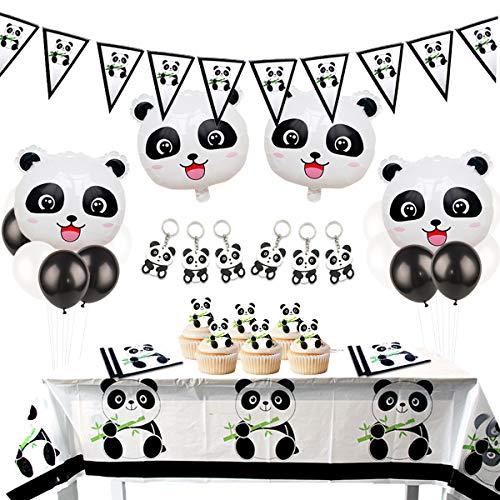 Panda Geburtstag Party Deko Set Panda Wimpel Girlande Panda Schlüsselanhänger Mylar Luftballons für Mädchen Geburtstag Party Baby Dusche
