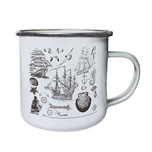 Seeliebhaber Seepferd Anker Schiff Glocke Neuheit Retro, Zinn, Emaille 10oz/280ml Becher Tasse q22e (Zinn Glocke)
