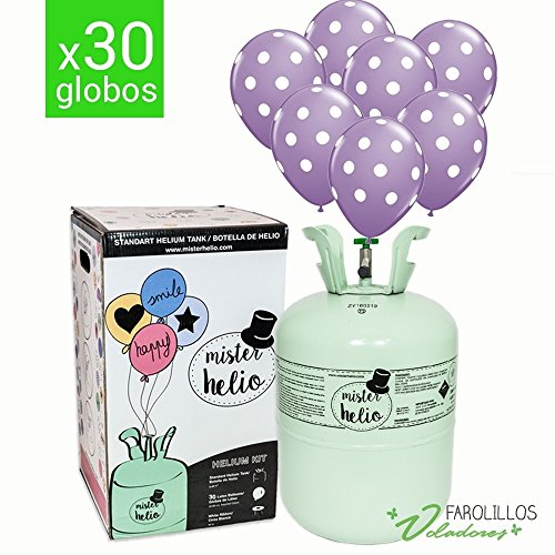 Bombona de helio + 30 globos de lunares. Elije el color que más te guste!! - Lavanda