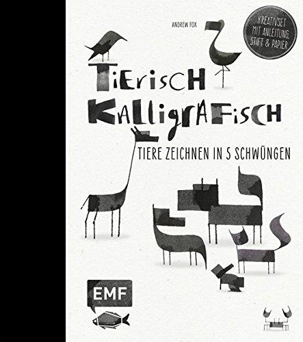 Tierisch kalligrafisch: Tiere zeichnen in 5 Schwüngen - Kreativset mit Anleitungen, Stift und Papier