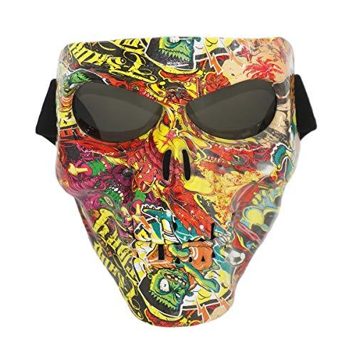 Vhccirt Motorrad Maske Polaroid Brille Ski Brille Graue Linse Maske Sensenmann Cos Maske Motorcross Helm / Party Cos / Airsoft Sicherheit Straßengraffiti