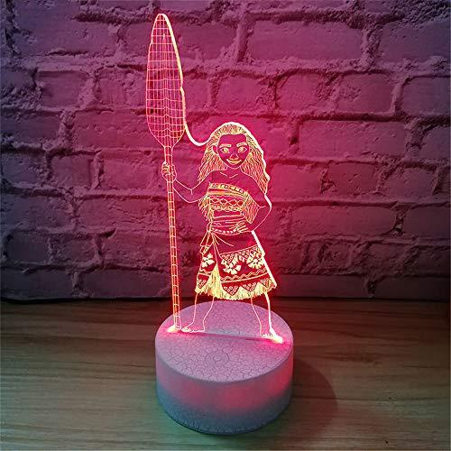 PDDXBB Cartoon Moana Prinzessin 3D Lampe Schlafzimmer Tischlampen Nachtlicht Maui 7 Farben Ändern Touch Lampe Figur Dekor Spielzeug Kinder Geschenk Sieben Farbe 20 * 14 cm (Zwei Farbe Gesteuert) -