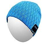 Bluetooth Beanie, Qshell lavabile Musica cappello della protezione con stereo senza fili delle cuffie sopra l'orecchio Auricolare Microfono altoparlante vivavoce ,regalo di Natale - Blu