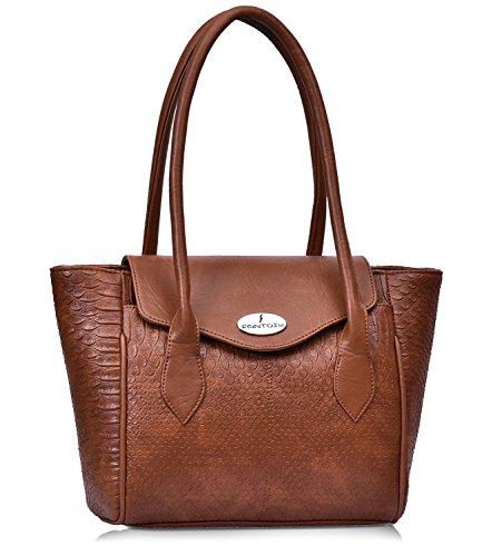 fantosy Tan Leather Design women shoulder bag (FNB-759) (Tan)