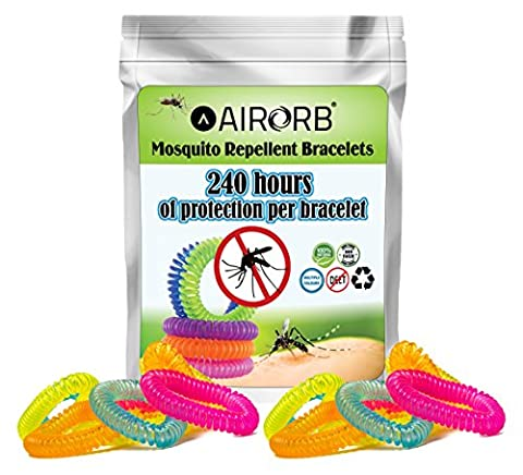 AIRORB Mosquito Repellent Bracelets 10 PACK - Citronella All Natural DEET Free Anti Insect Bands - KEEP AWAY MIDGES - Our Waterproof Outdoor Anti-Mosquito Bug Repeller Wristbands are suitable for Adults, Women, Children and Kids - Perfect for Camping