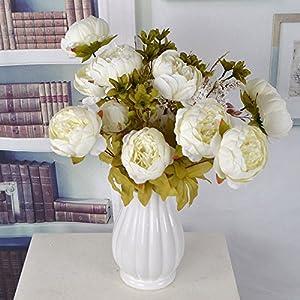 Lanyifang Ramo de Flores de Peonia Artificiales Ramo de Flores de Seda 13 Cabezas para Decoración Casa Nupcial Boda…