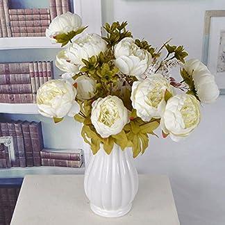 Lanyifang Ramo de Flores de Peonia Artificiales Ramo de Flores de Seda 13 Cabezas para Decoración Casa Nupcial Boda Partido Festival Bar