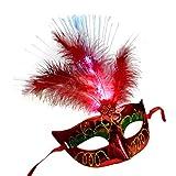 Bluestercool Vénitien LED Masques de Fibre Femmes Masques de Princesse Plume pour Bal de Mascarade (Rouge)