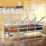 Chiara spezie rack-pentole di aiqi Spice–4pezzi spezie Box–contenitore per Menage bicchieri in acrilico–Menage con copertura e cucchiaio
