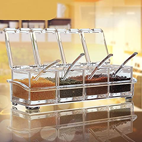 Aiqi Clear Acrylic Spice Rack Spice Pots - Set of 4Acrylic Spice Box-Storage Boxes for Cruet - Cruet Set with Cover and Spoon