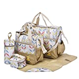 Laminated Water Proof Insulated Thermal 5pcs Baby Nappy Changing Hospital Bag (GOLD leaves)
