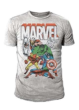 Marvel Comic - The Avengers Herren T-Shirt - Thor Hulk Spiderman (Grau) (S-XL) (M)