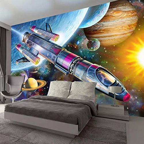 Foto 3D Poster Tapete Moderne Handgemalte Cartoon Space Universe Rakete Kinderzimmer Wandbild Tapete Kinder Schlafzimmer-280X200CM (1960 Kind Blume)