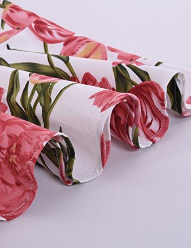 iShine Etuikleid Damen Knielang Bodycon Kleid mit Floral Rückenfrei Minikleid Bandage Kleid Festlich Partykleid Weiß