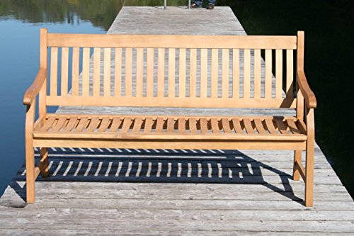 MSZ Design Gartenbank Hemingway 4-sitzig aus Eukalyptus mit Armlehne